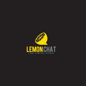 Modello di logo di chat di limone