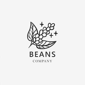 Modello di logo di chicchi di caffè