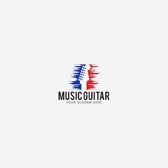 Modello di logo di chitarra musicale
