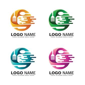 Modello di logo di cibo dinamico lettera c.