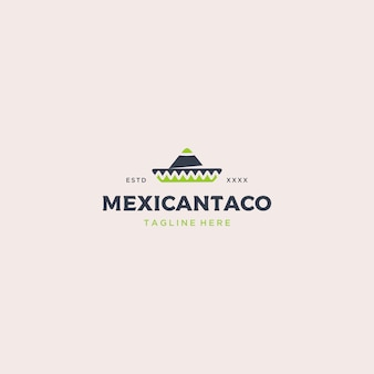 Modello di logo di cibo messicano tacos
