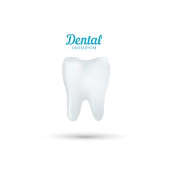 Modello di logo di clinica odontoiatrica. dente umano astratto.