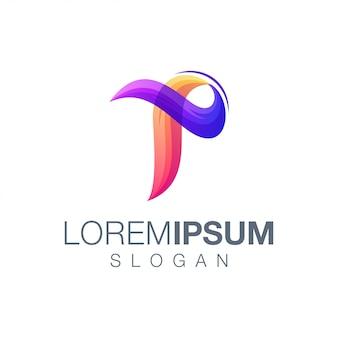 Modello di logo di colore sfumato lettera p