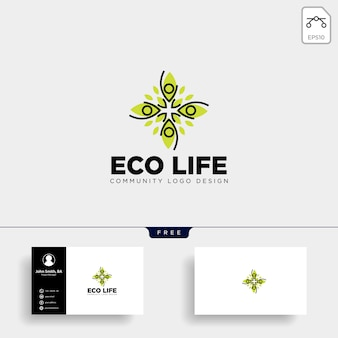 Modello di logo di comunità albero foglia umana