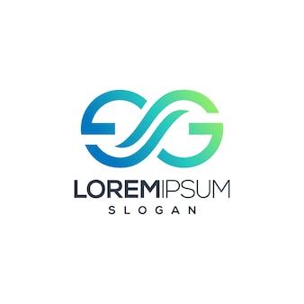 Modello di logo di concetto creativo di infinito lettera g