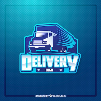 Modello di logo di consegna blu moderno
