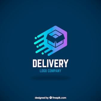 Modello di logo di consegna con effetto sfumato