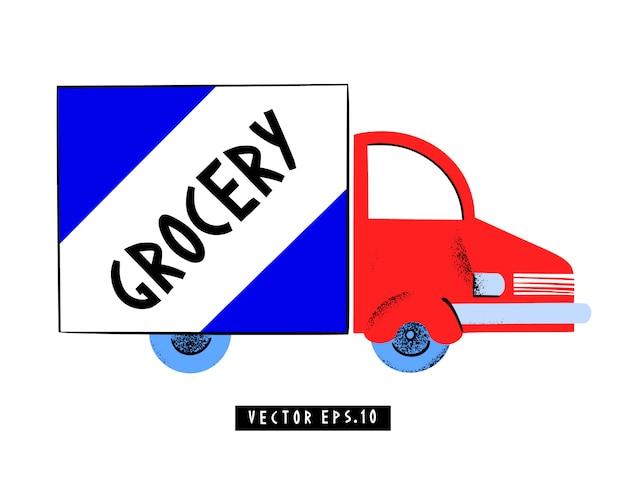 Modello di logo di consegna del negozio di alimentari. banner di concetto di isolamento pandemico. illustrazione. epidemia di coronavirus. sfondo 2019-ncov.
