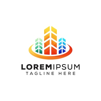 Modello di logo di costruzione immobiliare