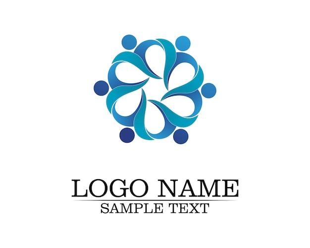 Modello di logo di cura della gente della comunità