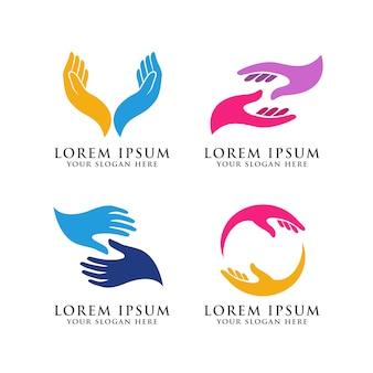 Modello di logo di cura della mano