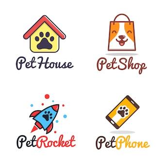Modello di logo di cute pet shop paw dog