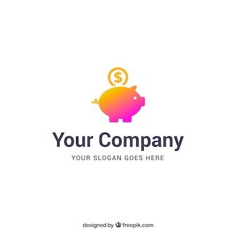 Modello di logo di denaro con piggybank