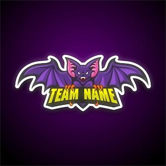 Modello di logo di e-sport di pipistrello