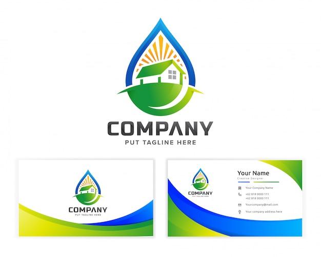 Modello di logo di eco stato reale edificio per l'azienda
