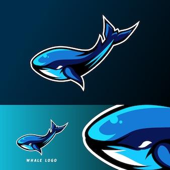 Modello di logo di esport di sport di mascotte di pesce balena blu