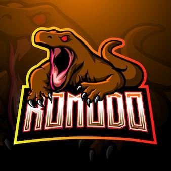 Modello di logo di esport esport drago di komodo