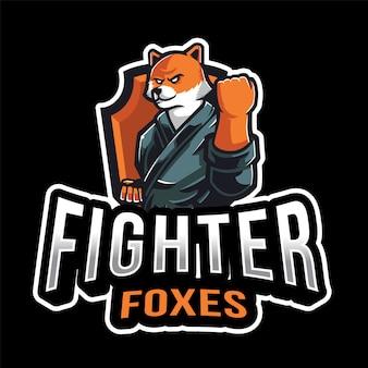 Modello di logo di esport foxes combattente