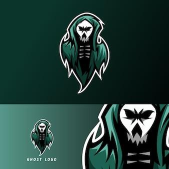 Modello di logo di esport sport fantasma mascotte spaventoso scuro