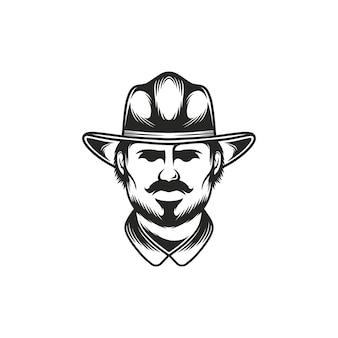 Modello di logo di faccia da cowboy