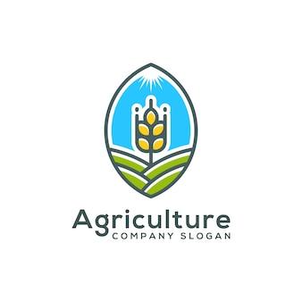 Modello di logo di fattoria di grano