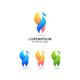 Modello di logo di fiamma colorata