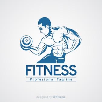 Modello di logo di fitness con uomo muscoloso