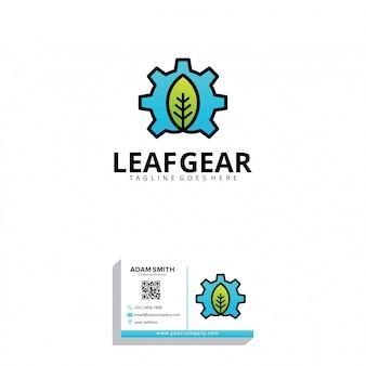 Modello di logo di foglia gear