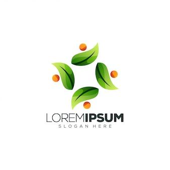 Modello di logo di foglie