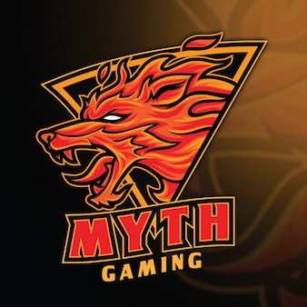 Modello di logo di fox fire myth esport