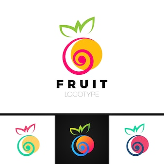 Modello di logo di frutta astratta con elemento a spirale