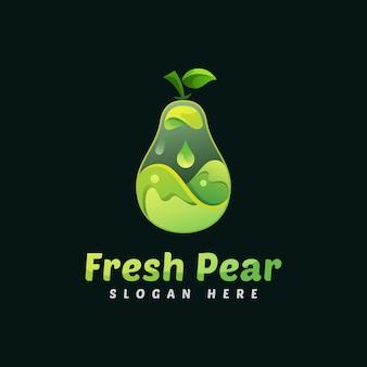 Modello di logo di frutta fresca pera liquida