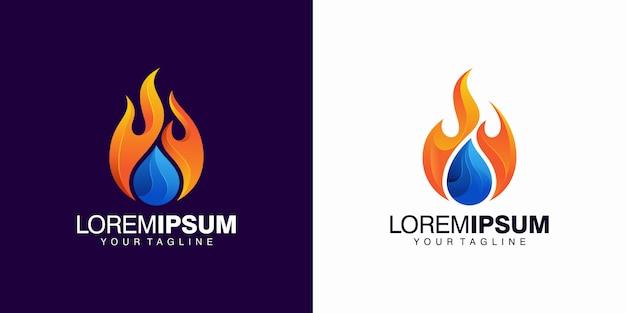 Modello di logo di fuoco e acqua