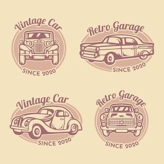 Modello di logo di garage auto d'epoca