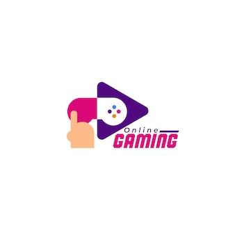 Modello di logo di gioco con console illustrata