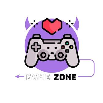Modello di logo di gioco con joystick