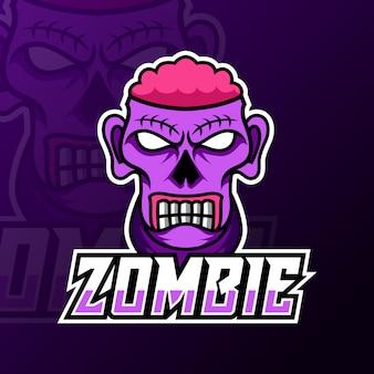 Modello di logo di gioco di mascotte del cervello spaventoso zombie pazzo