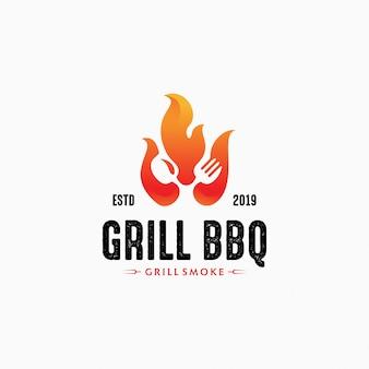 Modello di logo di griglia calda per ristorante. logo design bbq