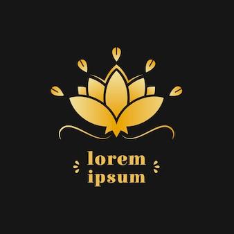 Modello di logo di identità aziendale di loto dorato