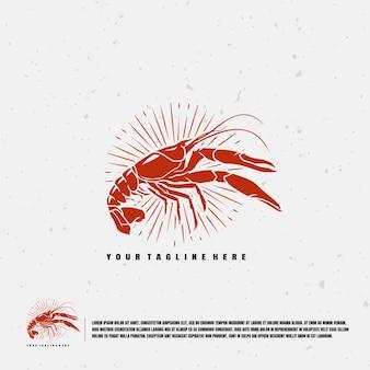 Modello di logo di illustrazione di aragoste