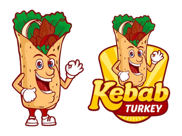 Modello di logo di kebab turchia, con personaggio divertente vettoriale