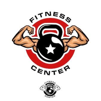 Modello di logo di kettlebell fitness