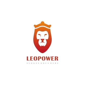 Modello di logo di leone con corona