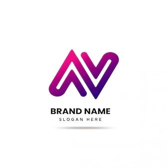 Modello di logo di lettera moderna nav