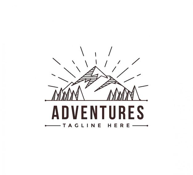 Modello di logo di lineart mountain avventura paesaggio