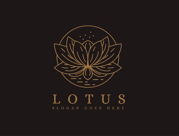 Modello di logo di lotus lineart