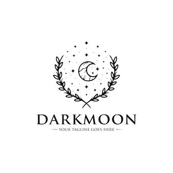 Modello di logo di luna scura