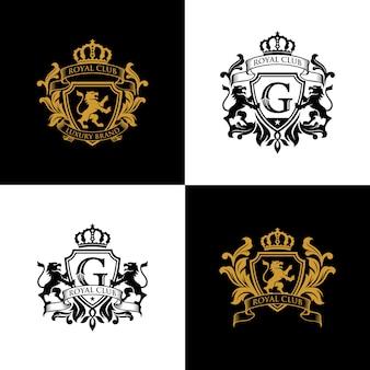 Modello di logo di lusso del marchio royal crest