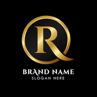 Modello di logo di lusso lettera r in colore oro