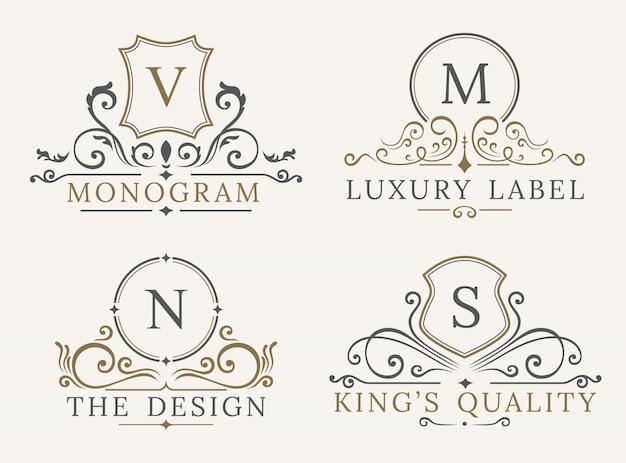 Modello di logo di lusso. scudo business sign per insegna